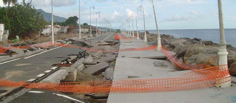 dégâts d'infrastructure en Guadeloupe suite à un cyclone