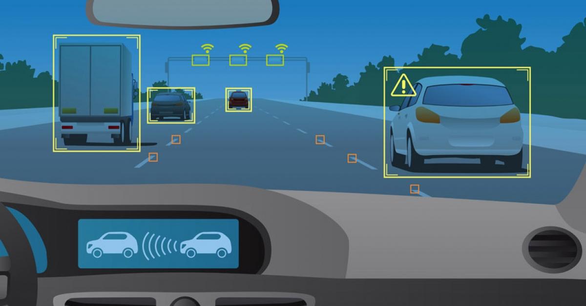 Représentation de l'interprétation d'une voiture autonome de la circulation qui l'entoure