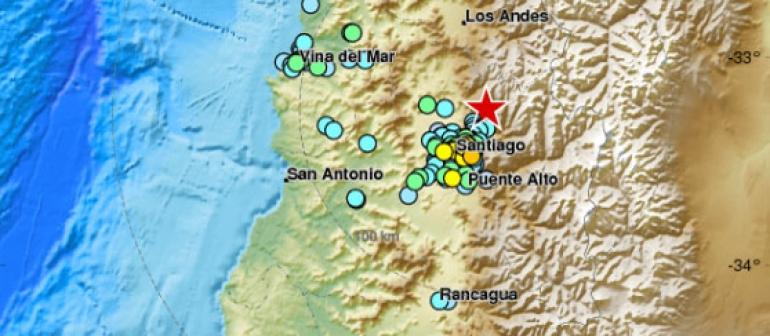 carte de Chilé indiquant l'épicentre d'un séisme